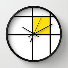 mondrian yellow wall clock  mondrian yellow by GorgeousGD on Etsy
