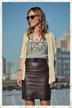leather skirt via lucylaucht For more photos of. Work Fashion, Skirt Fashion, Brown Leather Skirt, Leather Skirts, Spring Summer Fashion, Autumn Fashion, Grey Sweater Dress, Wool Skirts, Leather Fashion