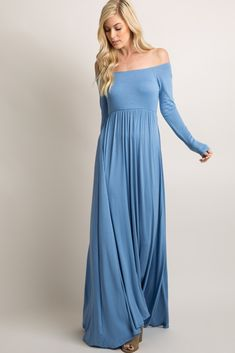 A solid hued, long sleeve maxi dress featuring elastic cinching under the bust and on off shoulder neckline. Double lined in bust to prevent sheerness. This style was created to be worn before, during, and after pregnancy. Women's Dresses, Event Dresses, Blue Dresses, Casual Dresses, Fashion Dresses, Dresses Online, Fashion 2018, Cheap Boutique Clothing, Fashion Boutique