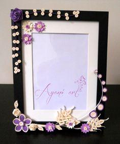 Quilled frame by Otilia Skimbiski Paper Quilling Flowers, Paper Quilling Designs, Quilling Paper Craft, Quilling Patterns, Paper Crafts, Quilling Ideas, Handmade Birthday Cards, Handmade Wedding, Quilling Photo Frames