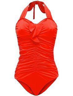 Maillot de bain gainant grande taille détail volant rouge Grande taille femme