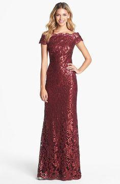 Bridesmaids in Wine - Tadashi Shoji Red Sequin Lace Off Shoulder Gown $438 @Nordstrom www.SweetStart.us Weddings@SweetStart.us