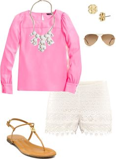 """Bubblegum Pink Blouse"" by pinkprep37 ❤ liked on Polyvore"