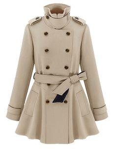 Fashion Turn Down Lapel Collar Long Belt Coat