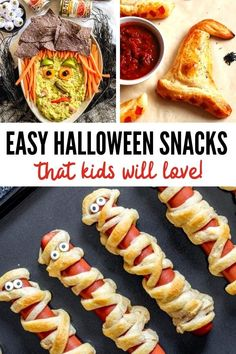 These Halloween snacks for kids are so easy that anyone can make them! Plus, your kids will love looking at them and eating them! #halloweensnacks #halloween #halloweenhotdogs #halloweentreats