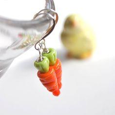 Easter Carrot Earrings  Lampwork Glass Earrings by bstrung on Etsy, $22.00