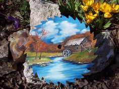 free images to paint on sawblades | ... Recycle 4 U Primitive Saw Blade Painting Original Signed Mill Water