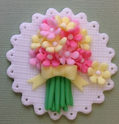 Fondant flower bouquet cupcake toppers-Mothers Day