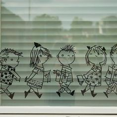 Line of kids window drawing, drawn by Fiep Westendorp. Cool on the school- or daycare windows, but also fun at home. Chalk Drawings, Chalk Markers, Window Art, Decoration, Crafts For Kids, Doodles, Diy, Windows, School