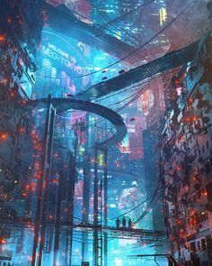 Sci-Fi Cyberpunk Illustrations by Dangiuz (aka Leopoldo D'Angelo)