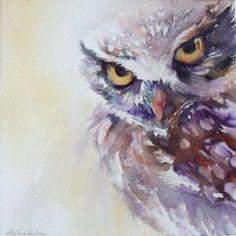 'Little Owl by Liz Chaderton Watercolor Animals, Watercolor Paintings, Owl Watercolor, Owl Paintings, Watercolours, Owl Art, Bird Art, Owl Canvas, Paper Owls