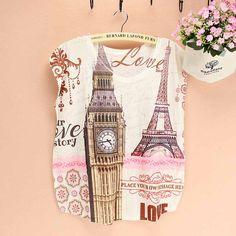 Fashion Big Ben clock printed T-shirt women Eiffel Tower pattern top tees 2015 summer dress LONDON Paris ladies culture clothing //Price: $9.95 & FREE Shipping //     #hashtag2