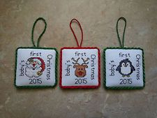 babys first christmas ornament cross stitch google search - Cross Stitch Christmas Decorations