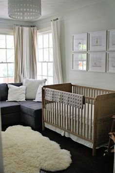 i absolutely adore the sofa and rug but i would go for different colored walls, curtains, and crib