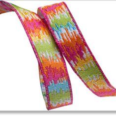 Dena Fishbein - Dena Designs Ribbons - Mini Ikat in Orange and Pink