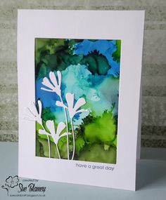 Sue's Card Craft: The Flower Challenge, HLS Anything Goes with Dies, HLS Watercolour, Seize the Birthday Alcohol Ink Crafts, Alcohol Ink Painting, Alcohol Ink Art, Scrapbook Cards, Scrapbooking, Copics, Watercolor Cards, Paper Cards, Cool Cards
