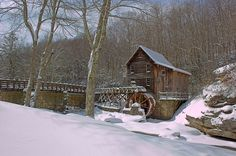 Winter Rivers Forests Mill Snow Nature