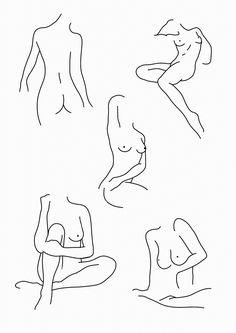 STANLEY DUKE tattoo illustration linework blackwork nudes nude woman body form female simplistic minimalist drawing