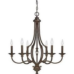 Seeded Glass Linear Chandelier with Cage Frame Bronze 5 Lt at Destination Lighting