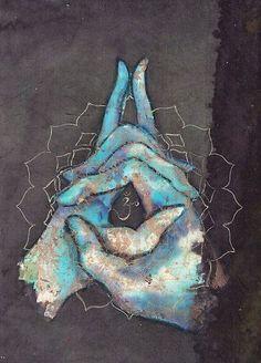 Crown Chakra Mudra by Tilly Campbell-Allen Yoga art, art for meditation, chakras, mindfulness Kundalini Yoga, Yoga Meditation, Pranayama, Art Chakra, Blue Chakra, Chakra Painting, Chakra Symbols, Yoga Kunst, Les Chakras