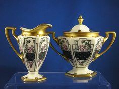 """Lennox Belleek Arts & Crafts Enameled Floral Design Creamer & Sugar Set (Signed """"M.E. Martin""""/Dated 1914)"""