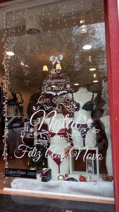 vitrine em recorte eletronico de vinil, tema Natal e Ano Novo.