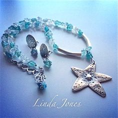 Sterling silver Starfish pendant with Fluorite and Aquamarine chip beads