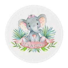 Girls elephant baby shower invitations and coordinating products with adorable baby girl elephant wearing a cute pink bow on a palm leaf background. These girl elephant baby shower invitations and products are easily customized for your event. Baby Girl Elephant, Elephant Theme, Elephant Baby Showers, Pink Elephant, Baby Shower Niño, Shower Bebe, Girl Shower, Baby Elefante, Baby Shower Souvenirs