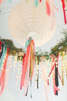 Hang ribbons from lanterns