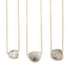 14K Large Diamond Slice Necklace   Vale Jewelry