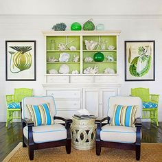 Cheerful green and blue accents perk up this relaxed space. See easy ways to decorate with natural elements: http://www.bhg.com/decorating/seasonal/fall/decorating-with-natural-elements/?socsrc=bhgpin060213colorpoplivingroom=2