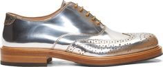 Alexander McQueen Silver Shade Metallic Leather Lace-Up Brogues
