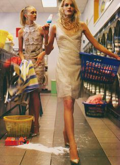 """""""Glamorama"""",Gemma Ward and Lily Donaldson photographed by Steven Meisel in Vogue December 2005    If only laundry was this glamourous.  I wouldn't mind doing it really."""