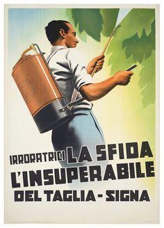 Del Taglia Signa (Firenze), irroratrici la Sfida Vintage Advertisements, Ads, Gray Background, Red And White, Advertising, Firenze, Marketing, Poster, Image