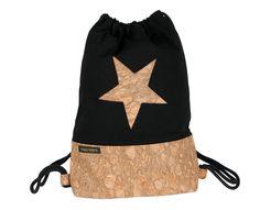 Turnbeutel - Turnbeutel Festival Bag Kork gefüttert schwarz - ein Designerstück von Linea-Mano bei DaWanda