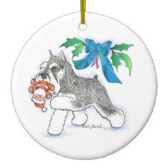 Lori_bush_art: Gifts: Zazzle.com Store #schnauzer #minischnauzer #miniatureschnauzer #ornament #Christmas #zazzle
