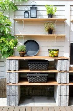 Side of the house Backyard Projects, Outdoor Projects, Garden Projects, Diy Outdoor Kitchen, Diy Patio, Cinder Block Furniture, Beton Design, Summer Kitchen, Yard Design