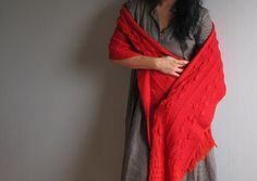 Red hand knit scarf chunky neck warmer oversized by woolpleasure, $42.00