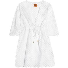 Tory Burch Plunge-front broderie anglaise tunic ($148) ❤ liked on Polyvore