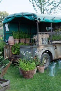 plant, boa, van pot, vintag van, edible garden, potting sheds, edibl garden, clay pots, vintage greenhouse