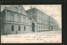 old postcard: AK Komotau / Chomutov, die neue K.k. Landwehrkaserne