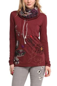 "Buy online Desigual T-Shirt Top""Doce"", style 47T2612 3082. Long sleeves burgundy top with floral design and unique double turtle neck."