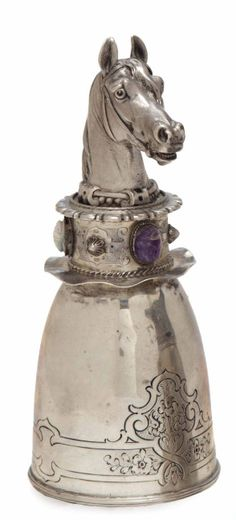 A RUSSIAN SILVER AND SILVER-GILT HORSE HEAD-FORM STIRRUP CUP,  MARKED FOR ST. PETERSBURG, 1908-1917, MAKER'S MARK CYRILLIC 'K.F.',  marked '88', realistically cast with riding riens, and with three hardstone scarab-form embellishments.