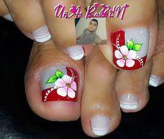 Pretty Toe Nails, Cute Toe Nails, Toe Nail Art, Cute Acrylic Nails, Pretty Toes, Nail Art Designs Videos, Red Nail Designs, Pedicure Designs, Acrylic Nail Designs