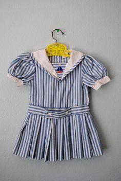 vintage toddler girl stripe nautical dress