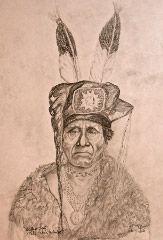 """My drawing of Native American Indian """"Buffalo Chief"""" Cha-Won-A-Ke one of my relatives of the Otoe Missouria Tribe. Prints available for sale in regular or sepia tone in various sizes on Ebay"""