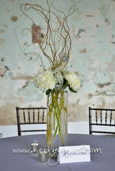 Cylinder vase with hydrangeas and curly willow. 1 of 3 designs we did for the guest tables. | Flickr - Photo Sharing!