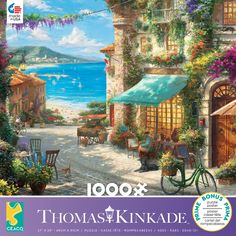 This 1000 piece puzzle features a Thomas Kinkade painting with an inviting scene of an Italian café on a winding street that leads down to the beach. Thomas Kinkade Puzzles, 3d Puzzles, Wooden Puzzles, Kinkade Paintings, Italian Cafe, Puzzle Toys, Vivid Colors, Gifts For Kids, Beautiful Pictures