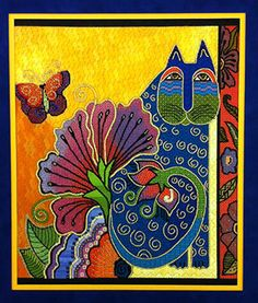 It's not your Grandmother's Needlepoint Laurel Burch canvas with stitch guide Laurel Burch Fabric, Cat Quilt, Watercolor Cat, Illustration, Hand Painted Canvas, Cat Colors, Indigenous Art, Diy Arts And Crafts, Cat Art