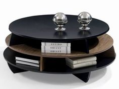 round black coffee table | Product:Luxury black lacquer round wooden coffee table with bookcase ...